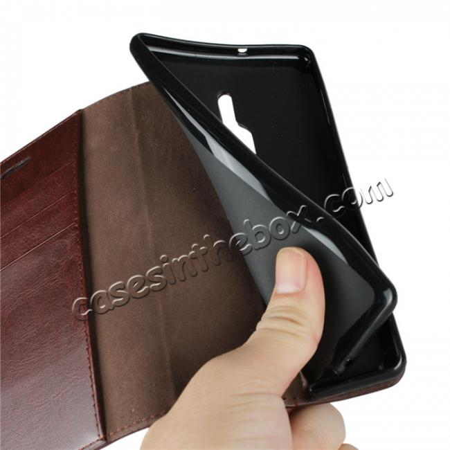 on sale For Sony Xperia XZ2 Premium Crazy Horse Genuine Leather Case Flip Stand Card Slot - Coffee