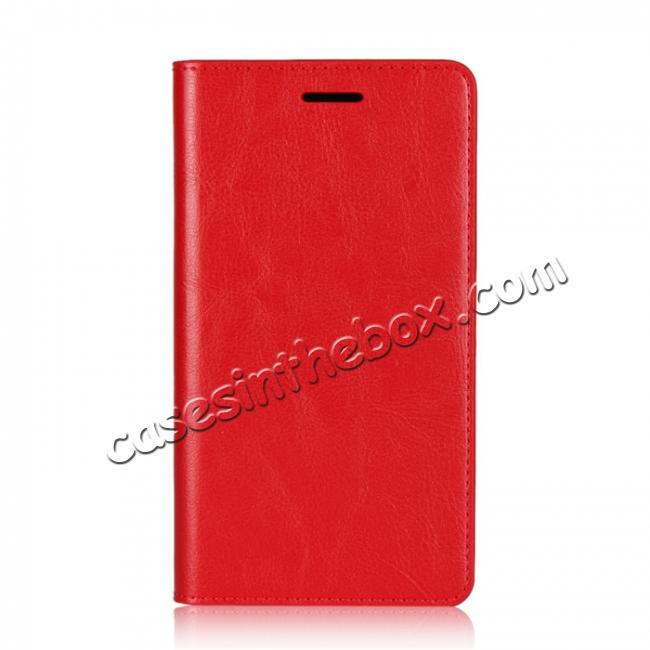 discount For Sony Xperia XZ2 Premium Crazy Horse Genuine Leather Case Flip Stand Card Slot - Red