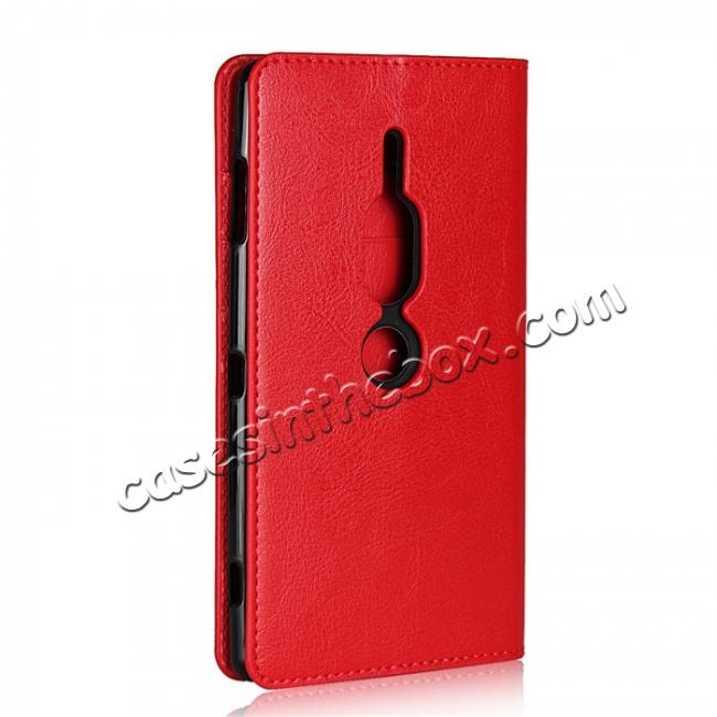 cheap For Sony Xperia XZ2 Premium Crazy Horse Genuine Leather Case Flip Stand Card Slot - Red