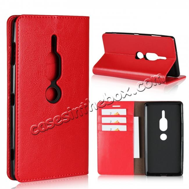 wholesale For Sony Xperia XZ2 Premium Crazy Horse Genuine Leather Case Flip Stand Card Slot - Red