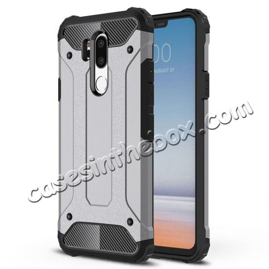 low price Full Slim Rugged Dual Layer Heavy Duty Hybrid Protection Case for LG G7 ThinQ - Gray