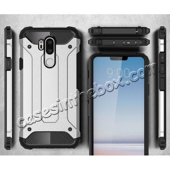 high quanlity Full Slim Rugged Dual Layer Heavy Duty Hybrid Protection Case for LG G7 ThinQ - Gray