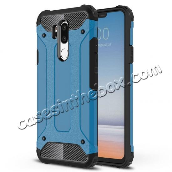top quality Full Slim Rugged Dual Layer Heavy Duty Hybrid Protection Case for LG G7 ThinQ - Navy blue