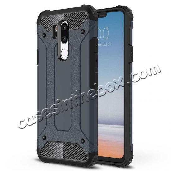 wholesale Full Slim Rugged Dual Layer Heavy Duty Hybrid Protection Case for LG G7 ThinQ - Navy blue