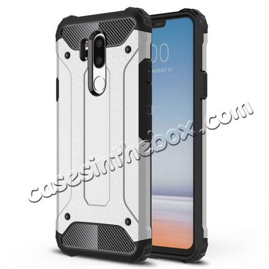 cheap Full Slim Rugged Dual Layer Heavy Duty Hybrid Protection Case for LG G7 ThinQ - Silver