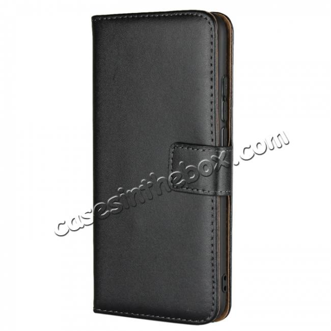 discount Genuine Leather Stand Wallet Case for Huawei Honor 10 with Card Slots&holder - Black