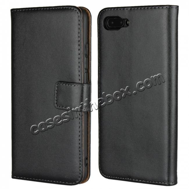 wholesale Genuine Leather Stand Wallet Case for Huawei Honor 10 with Card Slots&holder - Black