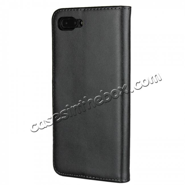 cheap Genuine Leather Stand Wallet Case for Huawei Honor 10 with Card Slots&holder - Black