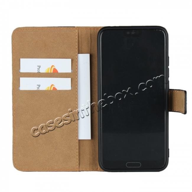 on sale Genuine Leather Stand Wallet Case for Huawei Honor 10 with Card Slots&holder - Black