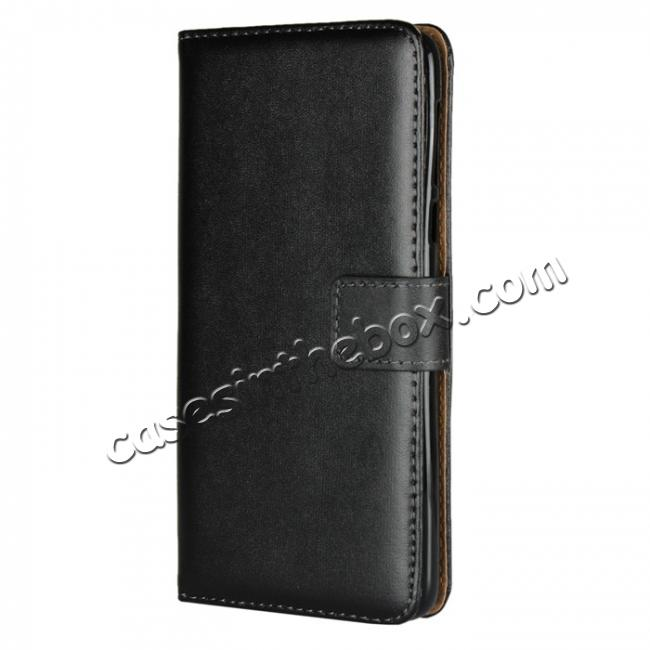 discount Genuine Leather Stand Wallet Case for Motorola Moto E5 with Card Slots&holder - Black