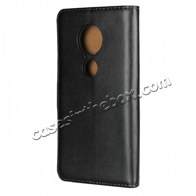 cheap Genuine Leather Stand Wallet Case for Motorola Moto E5 with Card Slots&holder - Black