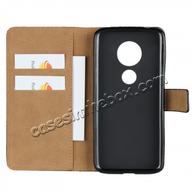 on sale Genuine Leather Stand Wallet Case for Motorola Moto E5 with Card Slots&holder - Black