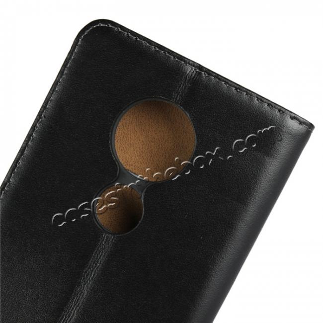 low price Genuine Leather Stand Wallet Case for Motorola Moto E5 with Card Slots&holder - Black