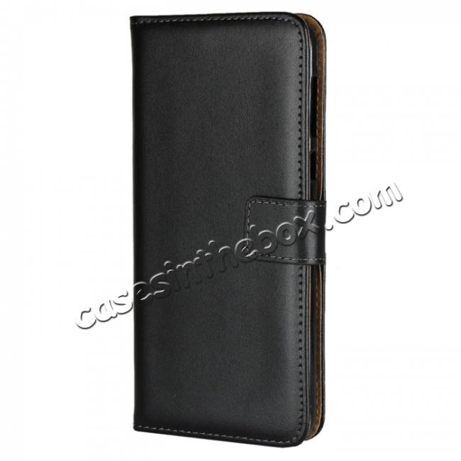 discount Genuine Leather Stand Wallet Case for Motorola Moto G6 Plus with Card Slots&holder - Black