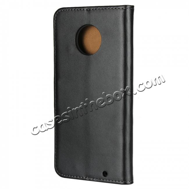 cheap Genuine Leather Stand Wallet Case for Motorola Moto G6 Plus with Card Slots&holder - Black
