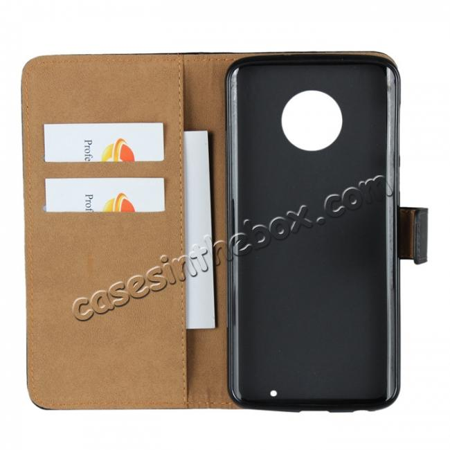 on sale Genuine Leather Stand Wallet Case for Motorola Moto G6 Plus with Card Slots&holder - Black
