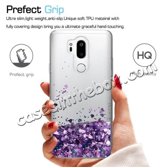 discount Glitter Shiny Bling Moving Liquid Quicksand Clear TPU Phone Case for LG G7 ThinQ - Purple