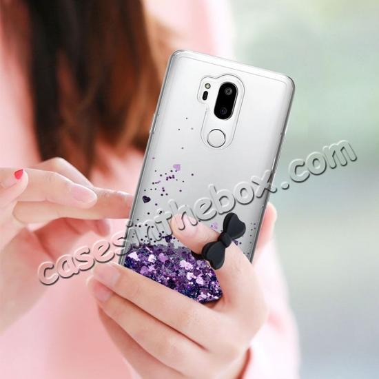 cheap Glitter Shiny Bling Moving Liquid Quicksand Clear TPU Phone Case for LG G7 ThinQ - Purple