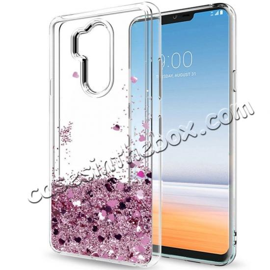 wholesale Glitter Shiny Bling Moving Liquid Quicksand Clear TPU Phone Case for LG G7 ThinQ - Rose gold