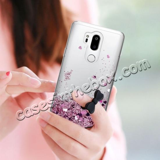 on sale Glitter Shiny Bling Moving Liquid Quicksand Clear TPU Phone Case for LG G7 ThinQ - Rose gold