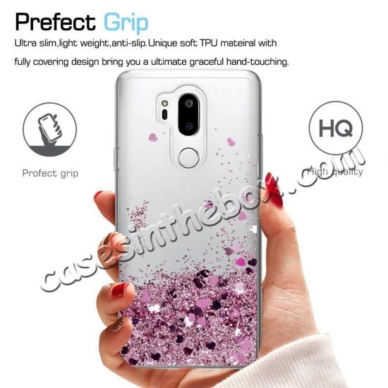 discount Glitter Shiny Bling Moving Liquid Quicksand Clear TPU Phone Case for LG G7 ThinQ - Rose gold
