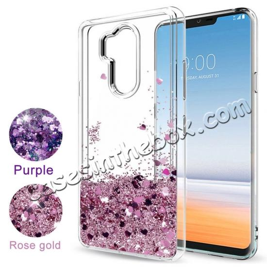 low price Glitter Shiny Bling Moving Liquid Quicksand Clear TPU Phone Case for LG G7 ThinQ - Rose gold