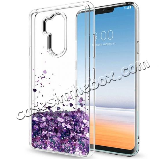 high quanlity Glitter Shiny Bling Moving Liquid Quicksand Clear TPU Phone Case for LG G7 ThinQ - Rose gold