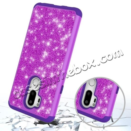 cheap Glitter Sparkly Bling Shockproof  Hybrid Defender Armor Protective Case for LG G7 ThinQ - Purple