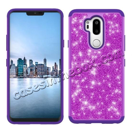 discount Glitter Sparkly Bling Shockproof  Hybrid Defender Armor Protective Case for LG G7 ThinQ - Purple