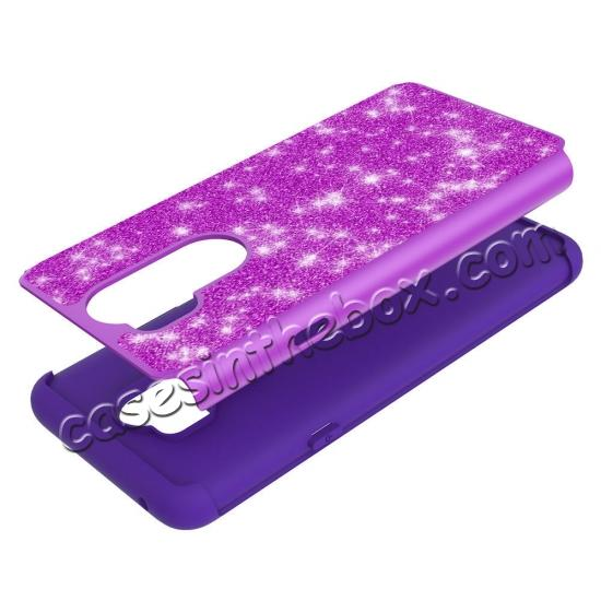 on sale Glitter Sparkly Bling Shockproof  Hybrid Defender Armor Protective Case for LG G7 ThinQ - Purple