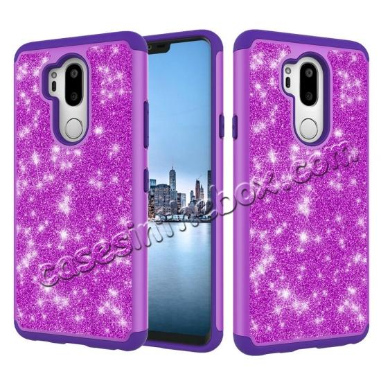 low price Glitter Sparkly Bling Shockproof  Hybrid Defender Armor Protective Case for LG G7 ThinQ - Purple