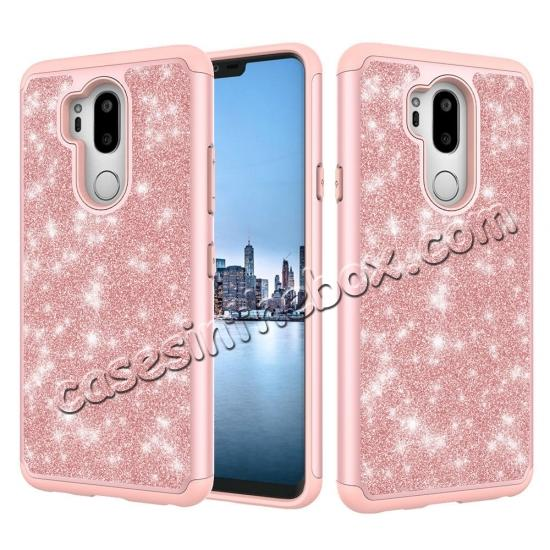 high quanlity Glitter Sparkly Bling Shockproof  Hybrid Defender Armor Protective Case for LG G7 ThinQ - Purple
