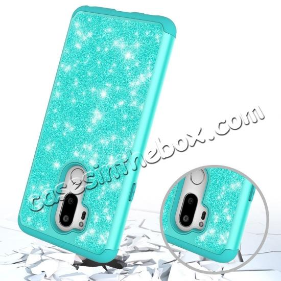 cheap Glitter Sparkly Bling Shockproof  Hybrid Defender Armor Protective Case for LG G7 ThinQ - Teal