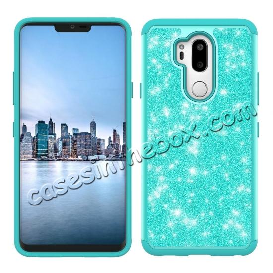 discount Glitter Sparkly Bling Shockproof  Hybrid Defender Armor Protective Case for LG G7 ThinQ - Teal