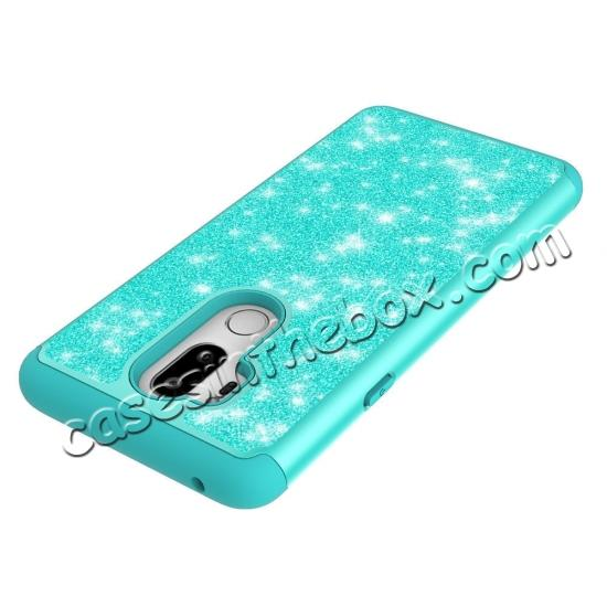 top quality Glitter Sparkly Bling Shockproof  Hybrid Defender Armor Protective Case for LG G7 ThinQ - Teal