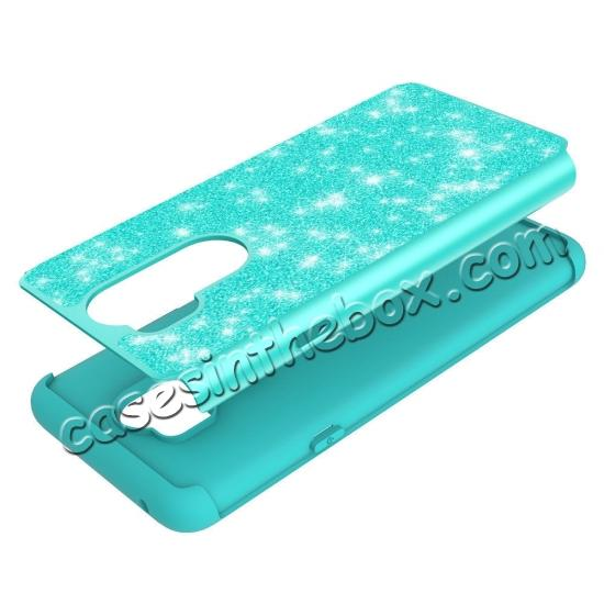 on sale Glitter Sparkly Bling Shockproof  Hybrid Defender Armor Protective Case for LG G7 ThinQ - Teal