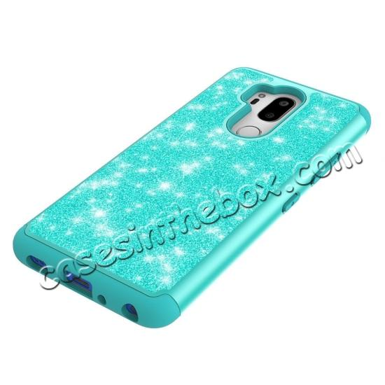best price Glitter Sparkly Bling Shockproof  Hybrid Defender Armor Protective Case for LG G7 ThinQ - Teal