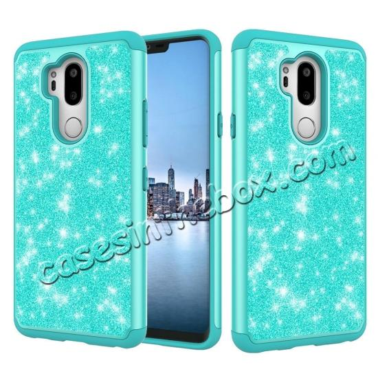 china wholesale Glitter Sparkly Bling Shockproof  Hybrid Defender Armor Protective Case for LG G7 ThinQ - Teal