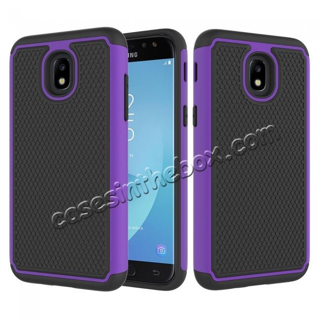 wholesale Hybrid Dual Layer Shockproof Protective Phone Case Cover For Samsung Galaxy J3 (2018) - Purple