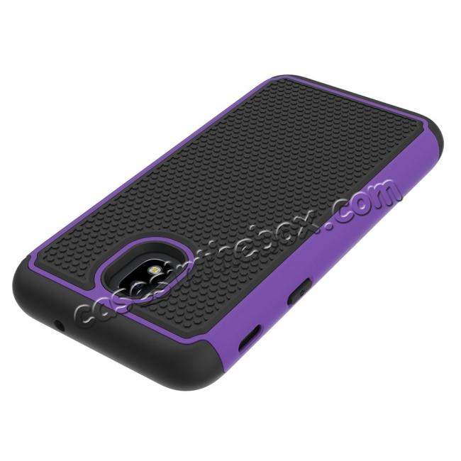 top quality Hybrid Dual Layer Shockproof Protective Phone Case Cover For Samsung Galaxy J3 (2018) - Purple