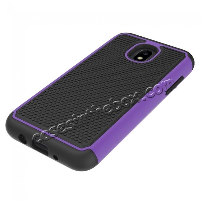 best price Hybrid Dual Layer Shockproof Protective Phone Case Cover For Samsung Galaxy J3 (2018) - Purple