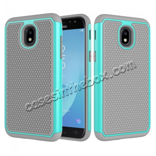 wholesale Hybrid Dual Layer Shockproof Protective Phone Case Cover For Samsung Galaxy J3 (2018) - Teal & Gray