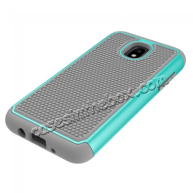 best price Hybrid Dual Layer Shockproof Protective Phone Case Cover For Samsung Galaxy J3 (2018) - Teal & Gray