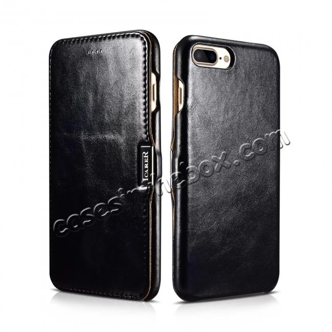 cheap ICARER Vintage Genuine Leather Side Magnetic Flip Case for Apple iPhone 6 7 7 Plus 8 8 Plus X + 【FREE SHIPPING】