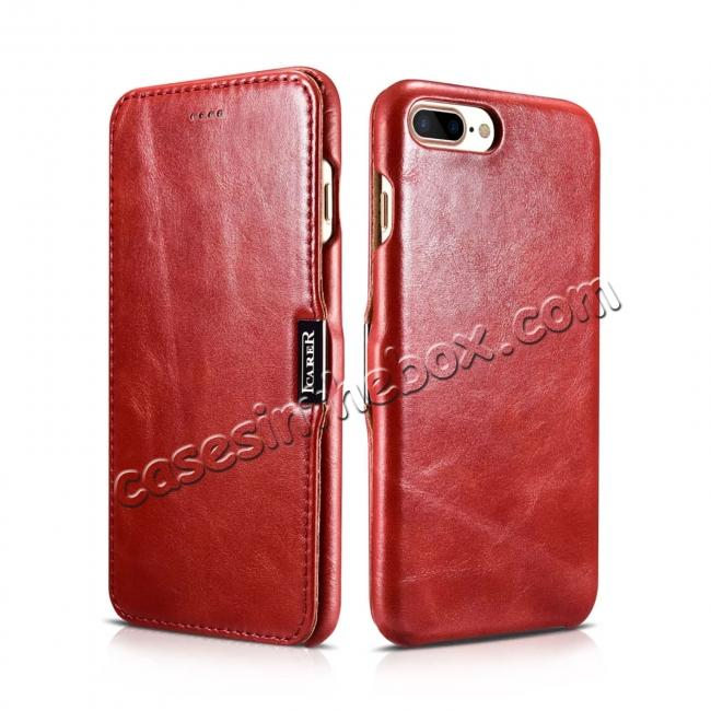 top quality ICARER Vintage Genuine Leather Side Magnetic Flip Case for Apple iPhone 6 7 7 Plus 8 8 Plus X + 【FREE SHIPPING】