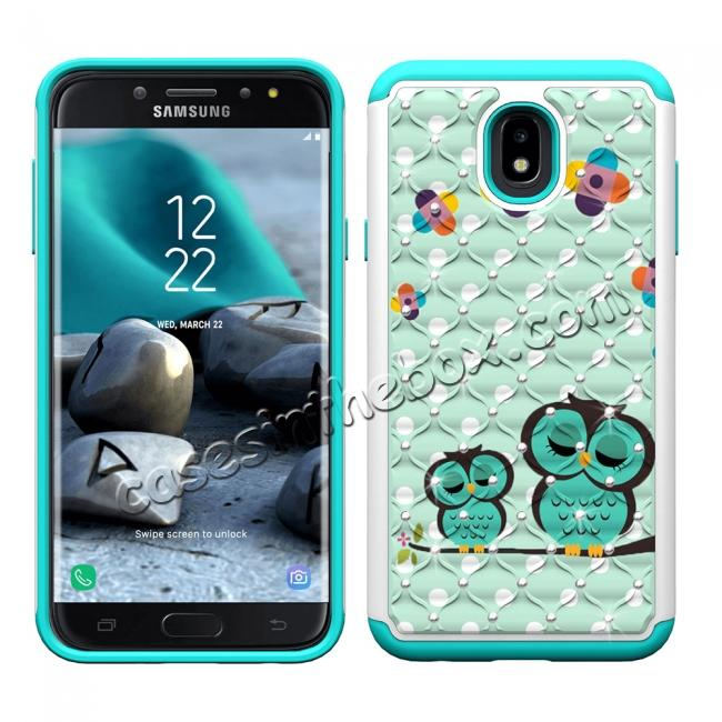discount Luxury Glitter Bling Diamond Design Hybrid Protective Phone Case For Samsung Galaxy J7 (2018) - Owl