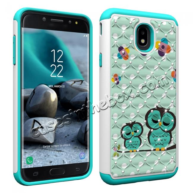 cheap Luxury Glitter Bling Diamond Design Hybrid Protective Phone Case For Samsung Galaxy J7 (2018) - Owl