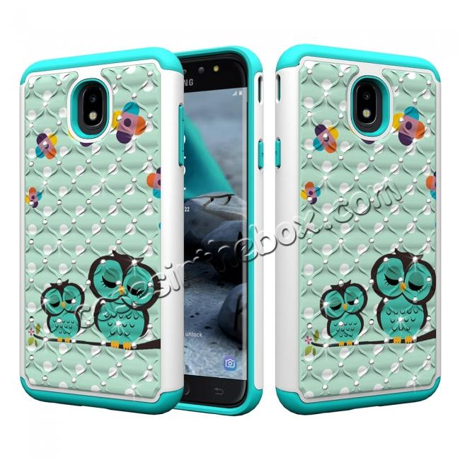 wholesale Luxury Glitter Bling Diamond Design Hybrid Protective Phone Case For Samsung Galaxy J7 (2018) - Owl
