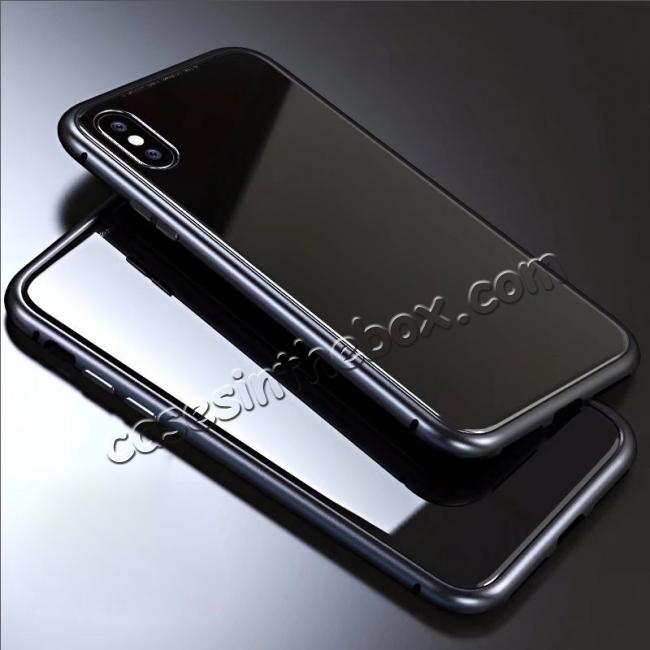 wholesale Luxury Magnetic Metal Frame Tempered Glass Back Cover Case For iPhone X - Black