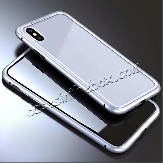 wholesale Luxury Magnetic Metal Frame Tempered Glass Back Cover Case For iPhone X - Silver&Clear